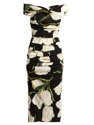 Dolce And Gabbana Tulip Print Off The Shoulder Dress Black Multi
