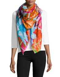 Echo Fringed Floral Print Scarf Multi Colored