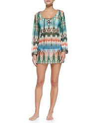 Letarte Tie Dye Long Sleeve Beaded Coverup Multi