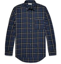 Public School Trin Checked Brushed Cotton Twill Shirt Blue