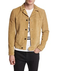 Saint Laurent Button Down Suede Jacket Tan Men's Size 48