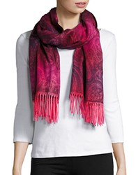 Lord And Taylor Ombre Paisley Scarf Pink