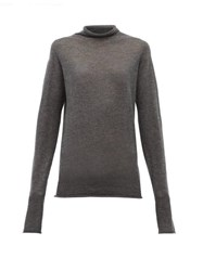 Raey Sheer Raw Edge Funnel Neck Cashmere Sweater Charcoal