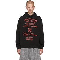 Raf Simons Black Burning Down Hoodie