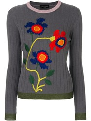 Roberto Collina Ribbed Floral Sweater Nylon Polyester Acetate Wool Xs Grey