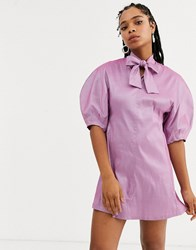 Sister Jane Mini Dress With Bow Collar And Volume Sleeves In Taffeta Purple