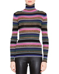 Emilio Pucci Striped Long Sleeve Mock Turtleneck Sweater
