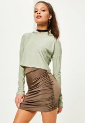 Missguided Petite Exclusive Brown Ruched Side Slinky Mini Skirt Chocolate
