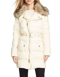 Lauren Ralph Lauren Faux Fur Trimmed Quilted Jacket Natural