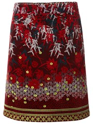 White Stuff Printed Winter Skirt Rich Red