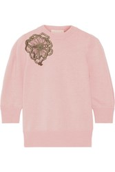 Roksanda Ilincic Morena Appliqued Wool Sweater Blush