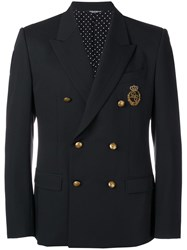 Dolce And Gabbana Embroidered Crown Logo Blazer Black
