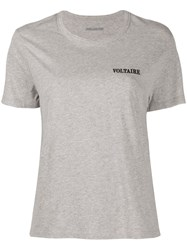 Zadig And Voltaire Logo Embroidered Round Neck T Shirt Grey