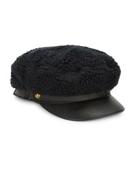 Genie By Eugenia Kim Jessa Sherpa And Leather Newsboy Hat Black