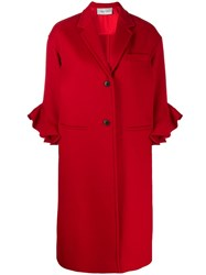 Valentino Ruffle Sleeve Coat Red