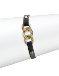 Karl Lagerfeld Filed Chain Leather Bracelet Black