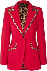 Dolce And Gabbana Leopard Print Trimmed Wool Blend Blazer Red
