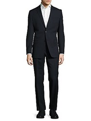 Versace Striped Woolen Suit Blue
