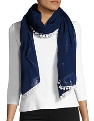 Bindya Pom Pom Trimmed Wrap Navy Blue