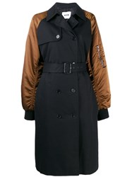 Msgm Double Breasting Bomber Style Coat Black