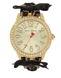 Betsey Johnson Bow Accented Leopard Strap Watch