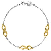 Dower And Hall 18Ct Gold Vermeil Triple Infinity Bracelet Silver Gold