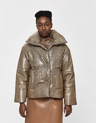 Nanushka Hide Vegan Leather Puffer In Brown Snake