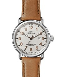 Shinola 41Mm The Runwell 3Hd Watch W Statue Of Liberty Back And Leather Strap Brown