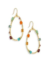 Ippolita 18K Rock Candy Semi Precious Multi Stone Large Frame Earrings Gold Multi