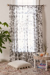 Plum And Bow Aspen Floral Curtain Black And White