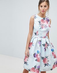 Chi Chi London Bow Back Midi Prom Dress In Floral Print Multi Floral