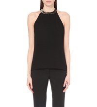 Michael Kors Sequin Embellished Silk Chiffon Top Black