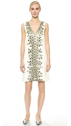 Wes Gordon Embroidered Shift Dress White Parlor Green Orange Emb