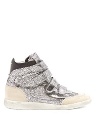 Isabel Marant Bilsy Concealed Wedge Metallic Leather Trainers Silver