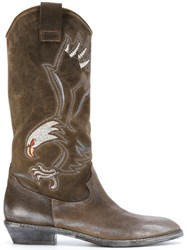 Fausto Zenga Eagle Embroidered Cowboy Boots Leather Suede Rubber Brown