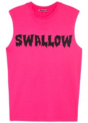 Mcq By Alexander Mcqueen Bright Pink Swallow Print Tank