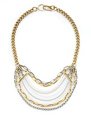 Paige Novick Mixed Metal Bead Bib Necklace Mix Metal