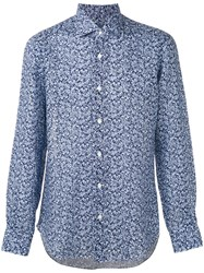 Barba Patterned Shirt Men Linen Flax 44 Blue