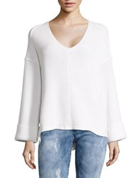 Free People Le Brea Ribbed V Neck Sweater White
