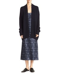 Vince Cashmere Open Front Boxy Cardigan Navy