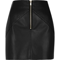 River Island Womens Black Leather Look Crinkle Panel Mini Skirt