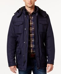 Perry Ellis Men's Field Jacket With Removable Hood Navy