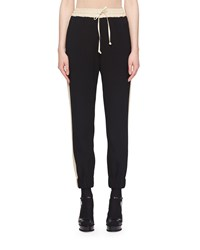 Dries Van Noten Cinched Ankle Straight Leg Pull On Two Tone Jogger Pants Black900
