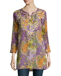 Raj Bombay Embroidered Paisley Bracelet Sleeve Tunic Purple