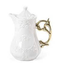 Seletti I Wares Porcelain Teapot With Gold Handle White
