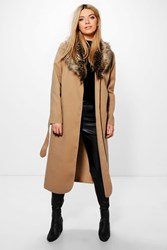 Boohoo Faux Fur Collar Wrap Coat Camel