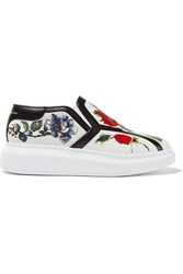 Alexander Mcqueen Floral Print Leather Slip On Sneakers White