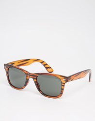 Asos Square Sunglasses In Stripey Tort Tort Brown