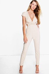 Boohoo Twist Front Cut Out Back Jumpsuit Stone