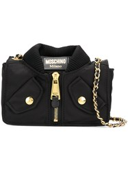 Moschino Bomber Jacket Shoulder Bag Nylon Black